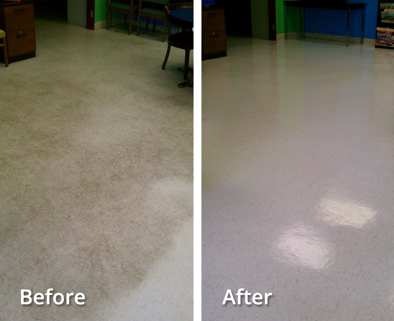 Floor Re-finishing Before and After by Pro Quality Cleaning