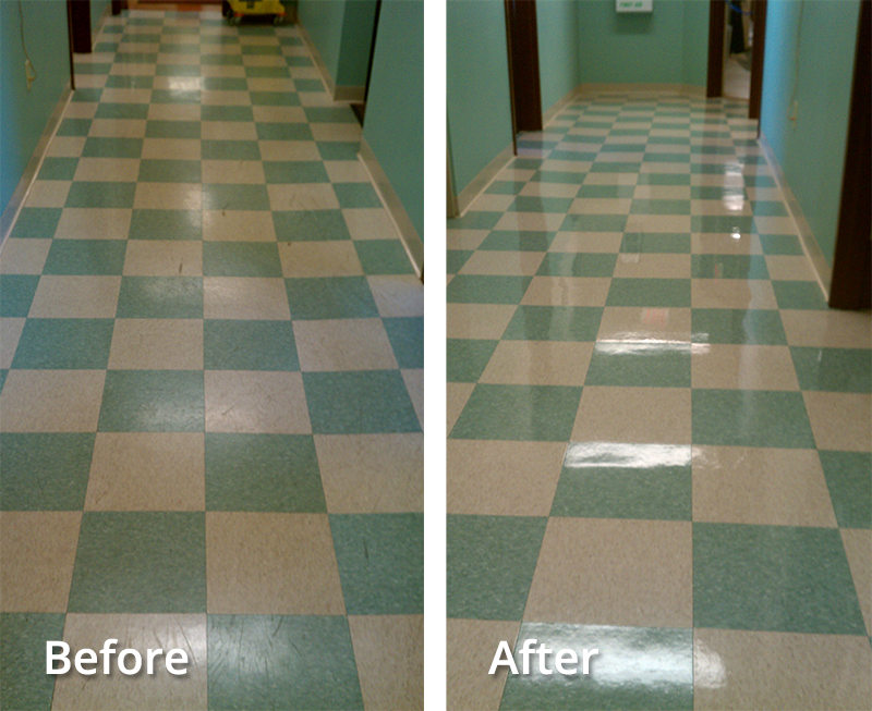 Tile Floor Re-Finishing Before and After by Pro Quality Cleaning